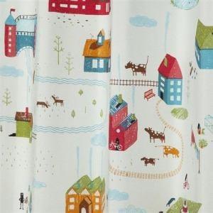 カーテン スモールタウン グリーン 巾100cm×丈200cm 2枚入