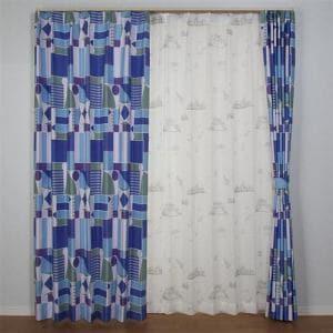 カーテン テンカイズ ブルー 巾100cm×丈200cm 2枚入