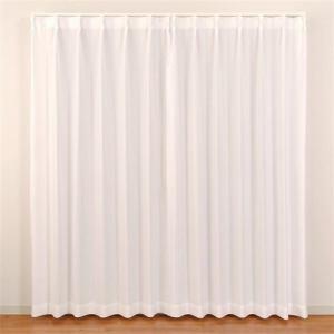 レースカーテン 防炎 見えにくい テキスト ホワイト 巾100cm×丈103cm 2枚入