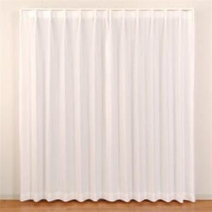 レースカーテン 防炎 見えにくい テキスト ホワイト 巾100cm×丈176cm 2枚入