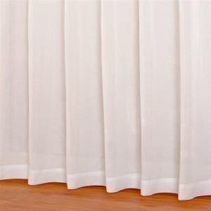 レースカーテン 遮熱 ビハダジョシボイル ホワイト 巾100cm×丈103cm 2枚入