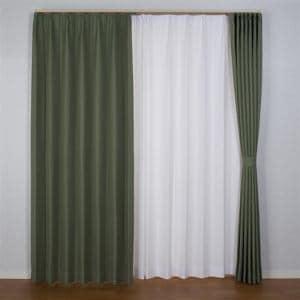 ドレープ遮光・防炎カーテン ニコラ オリーブグリーン 巾100cm×丈178cm 2枚入