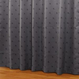 ドレープカーテン シルエットdeミッキー ブラック 巾100cm×丈135cm 2枚入