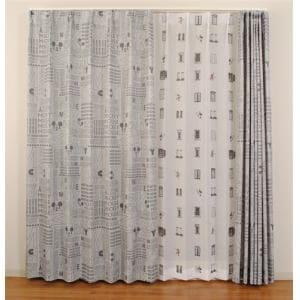 ドレープカーテン エイジdeミッキー グレー 巾100cm×丈200cm 2枚入