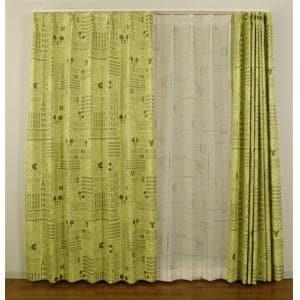 ドレープカーテン エイジdeミッキー グリーン 巾100cm×丈135cm 2枚入