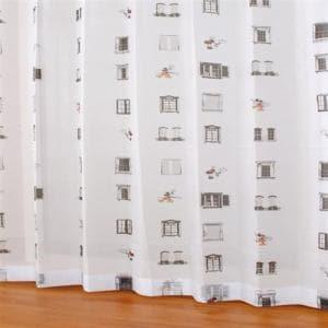 レースカーテン ボイルマドdeミッキー ブラック 巾100cm×丈176cm 2枚入