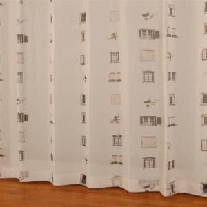 レースカーテン ボイルマドdeミッキー ブラウン 巾100cm×丈133cm 2枚入