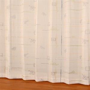 レースカーテン ボイルコウシdeミッキー グリーン 巾100cm×丈198cm 2枚入