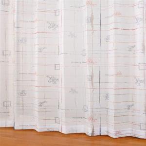 レースカーテン ボイルコウシdeミッキー レッド 巾100cm×丈133cm 2枚入