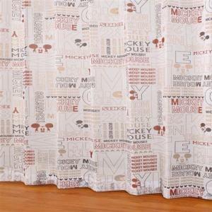 レースカーテン ボイルエイジdeミッキー レッド 巾100cm×丈198cm 2枚入