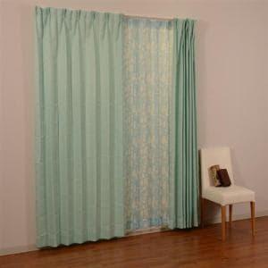 カーテンセット 4Pロゴ ブルー 巾100cm×丈178cm 4枚入