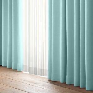 カーテンセット 4Pショット ターコイズ 巾100cm×丈135cm 4枚入