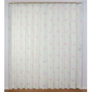 レースカーテン Wフラワーボイル ブルー 巾100cm×丈148cm 2枚入