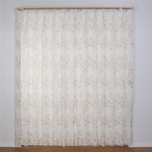 レースカーテン Wリーフボイル ベージュ 巾100cm×丈198cm 2枚入