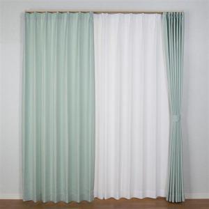 ドレープカーテン プチクロス ブルー 巾100cm×丈200cm 2枚入