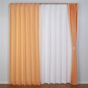 ドレープカーテン プチワッフル オレンジ 巾100cm×丈150cm 2枚入
