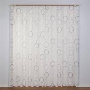 レースカーテン Wサークルボイル ブラウン 巾100cm×丈198cm 2枚入