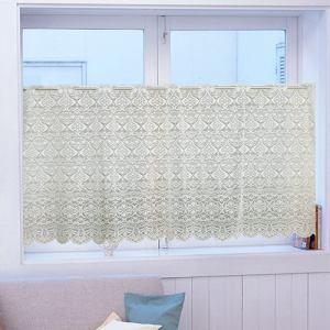 カフェカーテン シェリー2 アイボリー 巾150cm×丈75cm