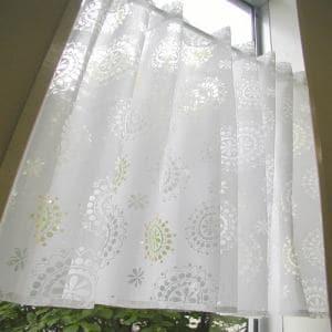 カフェカーテン オパールクレオ ホワイト 巾110cm×丈70cm