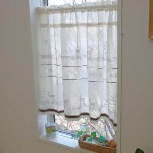 カフェカーテン インド綿ディアー ベージュ 巾110cm×丈70cm