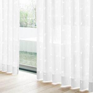 レースカーテン ホワイトキャット ホワイト 巾100cm×丈133cm 2枚入