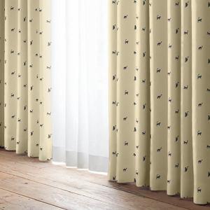 ドレープカーテン ブラックキャット ベージュ 巾100cm×丈178cm 2枚入