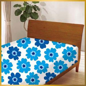 ベッドシーツ フラワー60144-1 ブルー シングル