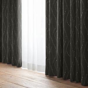 ドレープ遮光カーテン YDDヘイス グレー 巾100cm×丈178cm 2枚入
