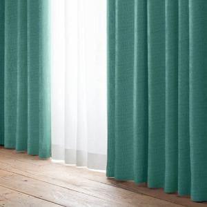 遮光カーテン 巾100cm×丈178cm YDDローレル ブルーグリーン 2枚入 形状記憶加工 ウォッシャブル