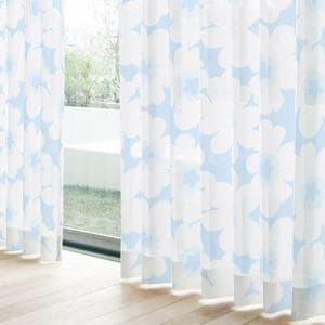レースカーテン YDDボイルジェル ブルー 巾100cm×丈198cm 2枚入