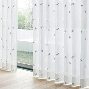 レースカーテン YDDボイルグラス ブルー 巾100cm×丈198cm 2枚入