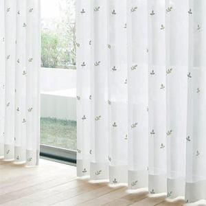 レースカーテン YDDボイルグラス グリーン 巾100cm×丈133cm 2枚入