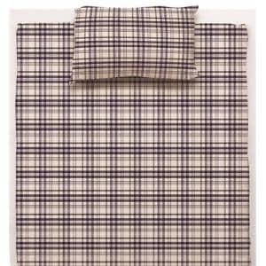 綿先染枕カバーS チェック ブルー 35×50cm
