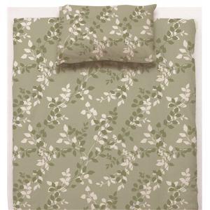 敷布団カバー ダブル 145×215cm  リーフ グリーン  しわになりにくい 乾きやすい