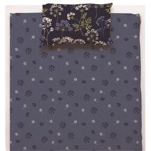 ベッドカバー/ボックスシーツ シングル 100×200×38cm  クラシカルフラワー ネイビー  しわになりにくい 乾きやすい
