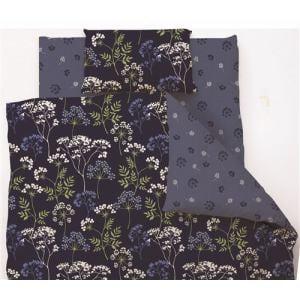 掛け布団カバー ダブル 190×210cm  クラシカルフラワー ネイビー しわになりにくい 乾きやすい