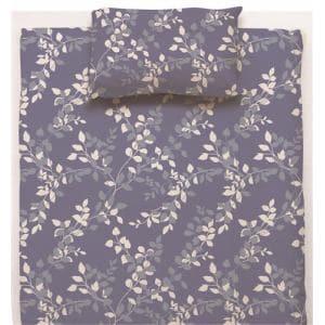 ベッドカバー/ボックスシーツ シングル 100×200×38cm  リーフ ネイビー  しわになりにくい 乾きやすい
