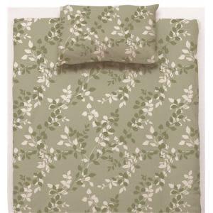 ベッドカバー/ボックスシーツ シングル 100×200×38cm  リーフ グリーン  しわになりにくい 乾きやすい