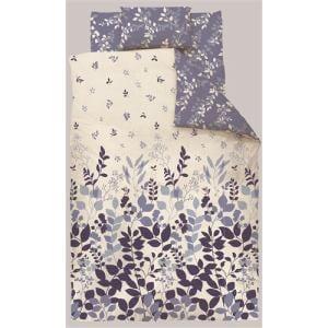 掛け布団カバー ダブル 190×210cm  リーフ ネイビー  しわになりにくい 乾きやすい