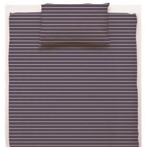 ベッドカバー/ボックスシーツ ダブル 140×200×38cm  幾何ボーダー ネイビー  しわになりにくい 乾きやすい