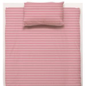 ベッドカバー/ボックスシーツ ダブル 140×200×38cm  幾何ボーダー ピンク  しわになりにくい 乾きやすい