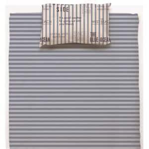 ベッドカバー/ボックスシーツ ダブル 140×200×38cm  ロゴストライプ ブルー  しわになりにくい 乾きやすい