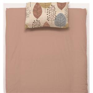 ベッドカバー/ボックスシーツ ダブル 140×200×38cm タッチリーフ  ピンク