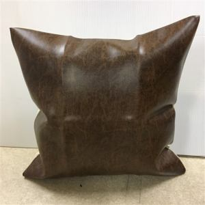 クッションカバー ファスナー付き レザータイプ ルッツ柄 ブラウン色  ブラウン 約45X45cm