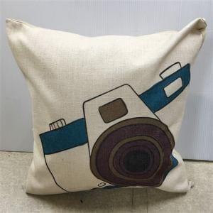クッションカバー ファスナー付き   カメラ柄 約45X45cm