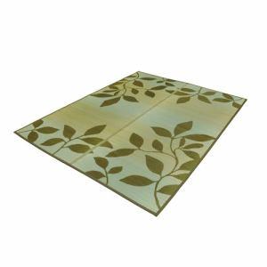 い草ラグ リーフ (約3畳) ブラウン 176×230cm