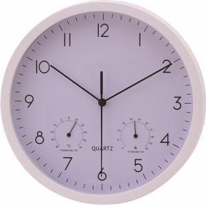 温湿度計付時計 ベゼル ホワイト 25cm