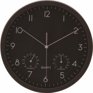 温湿度計付時計 ベゼル ブラック 25cm