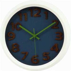 掛時計 プラスチックフレーム ネイビー/グリーン