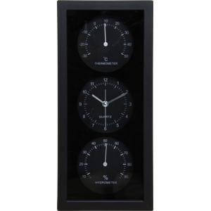 置時計温湿度計付き ダンデ縦型 ブラック
